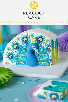 You'll be struttin' your stuff after you make this Pretty in Peacock Cake. Decorated with lovely buttercream feathers, this cake is all a flutter! Tint your batter before pouring it into your pan to create a colorful and fun effect when you cut into Pretty Cakes, Cute Cakes, Beautiful Cakes, Amazing Cakes, Mini Cakes, Cupcake Cakes, Dog Cakes, Peacock Cake, Peacock Bird
