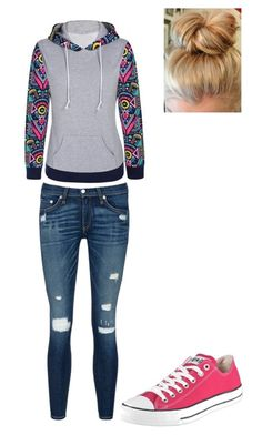 """Untitled #24"" by seipanthers ❤ liked on Polyvore featuring rag & bone/JEAN and Converse"