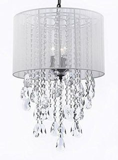 "Crystal Chandelier Empress Crystal (Tm) With Large White Shade! H24"" X W15"" - G7-B9/White/3/604/3"