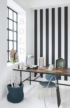 A striped wall. Removable wallpaper, perhaps?