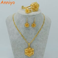 set necklace on sale at reasonable prices, buy Anniyo Gold Color Flower Jewelry sets Necklace Earrings Bangle Ring Ethiopian set Jewelry Africa Bride Eritrea from mobile site on Aliexpress Now! Gold Jewelry Simple, Gold Rings Jewelry, Jewelry Sets, Bridal Jewelry, Flower Jewelry, Jewelry Accessories, Amethyst Jewelry, Quartz Jewelry, Jewellery Earrings