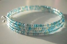 Light Blue Seed Bead Memory Wire Wrap Around by JustJoJewellery, £4.00
