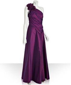 My potential Maid of Honor Dress #5 - Tadashi Shoji begonia iridescent taffeta one shoulder rosette gown