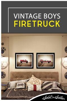 Vintage Toy Firetruck on Barn wood Photo Print, Rustic Decor, Boys Nursery, Red themed, Fireman room Vintage Art Prints, Vintage Canvas, Vintage Artwork, Vintage Walls, Vintage Toys, Minimalist Room, Minimalist Home Decor, Art Studio Design, Wall Design