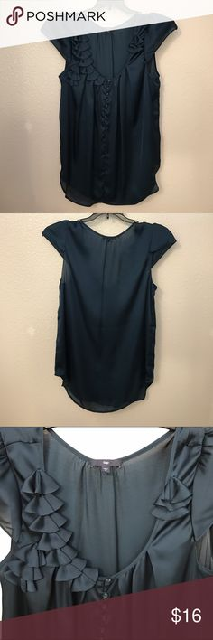 Gap Embellished Top Dark teal/navy colored, embellished top with cap sleeves. Last pic is probably closest to actual color. Material is slightly sheer. Washed once but never worn. No issues. GAP Tops
