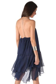Navy blue cheesecloth swing dress - 49,90 € - https://q2shop.com/