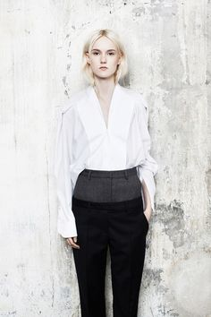 Maison Martin Margiela Pre-Fall 2014, white Oxford, pin-stripe trousers