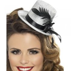 Great for sexy burlesque style fancy dress. Add the mini top hat into the hair using the attached elastic.With it's shiny glitter effect and classic style you will be the lady to look out for! Fancy Dress Womens, Bride To Be Sash, Hen Party Accessories, Goth Dress, Punk, Silver Dress, Black Feathers, Personalized T Shirts, Party Hats