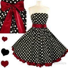 New Polka Dot Full Skirt Strapless 50s Rockabilly Swing Bridal Party Dress S XXL