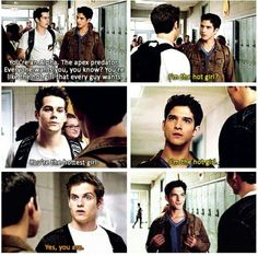 """Wow guys thanks"" Kayla says sarcastically. ""I-um-uh"" Stiles stutters staring at Kayla. Scott laughs to himself and walks away"