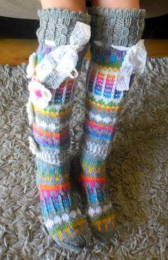 ace45e00a Hand knit knee socks. House knee socks. Flower knee socks. Woman