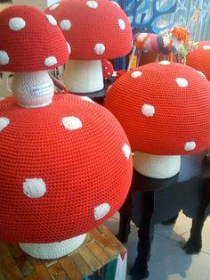 Aurum Icelandic Design - Mjúku kósí sveppakollarnir eru komnir. Small & large red and white mushroom poufs and little coin bank by Anne-Claire Petit.