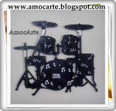 Peça de decoração - Bateria com detalhe em relevo - mdf madeira http://www.amocarte.blogspot.com.br/