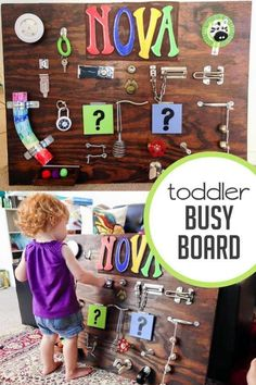 Awesome DIY instructions on how to make a toddler busy board! A great way to keep kids busy this holiday season! 18 Month Old Activities, Infant Activities, Learning Activities, Activities For Kids, Crafts For Kids, Teaching Math, Diy Busy Board, Busy Boards For Toddlers, Activity Board