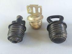 Lot-Canteen Stoppers- 1  Pre WW1 Schrader Metal & 2 Ebonite Bakelite Vulcanite