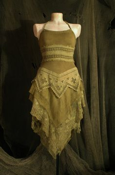 victorian boho gypsy elf dress in a dysty rustic by linusmanus