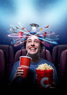 Cinemark :: Movies Vortex on Behance Ads Creative, Creative Posters, Creative Advertising, Advertising Design, Modern Graphic Design, Graphic Design Inspiration, Best Social Media Campaigns, Good Advertisements, Photoshop Pics