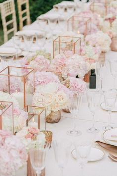 Gorgeous modern/geometric pink and white rose beach wedding centerpiece!