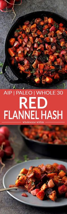 This Red Flannel Hash is healthy and delicious, making it a perfect meal option for individuals that follow an AIP, Paleo or Whole 30 lifestyle. It incorporates a variety of colorful vegetables including beets, sweet potatoes, radishes, onions, and beet leaves. Whole 30 Lunch, Whole 30 Breakfast, Clean Eating Breakfast, Healthy Breakfast Recipes, Healthy Cooking, Paleo Recipes, Real Food Recipes, Healthy Eating, Healthy Meals
