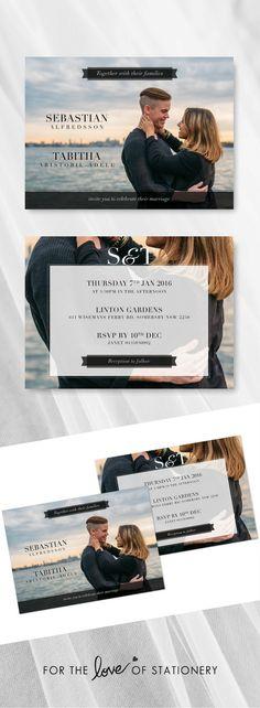 Modern Wedding Photo Invitations | Sebastian & Tabitha | For the Love of Stationery | Photography by Neal Johnson
