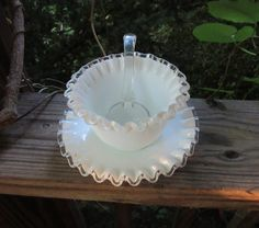 fenton mayonnaise server white milk glass silver crest with