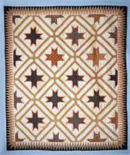 """1825 - 1850 Rachel Burr Corwin's """"Feathered Star"""" Pieced Quilt"""