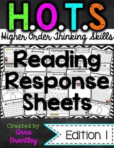 These higher order thinking skills response sheets encourage creating, evaluating, and analyzing text. They are aligned to the Common Core Standards and can be used over over with different books. My students love them! Guided Reading Lessons, Teaching Reading, Comprehension Strategies, Reading Strategies, Thinking Skills, Critical Thinking, Hot Reading, Reading Boards, Higher Order Thinking