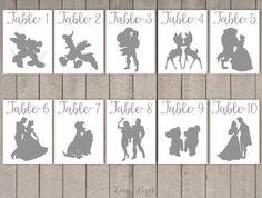 Disney Couple Cards Silhouette Calligraphy door SophiesLoveBirds #wedding #Disney