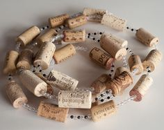 Wine Cork Garland with Crystal Beads