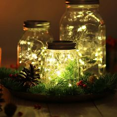 Die Mini LED Lichterkette Mason Jar zaubert tolle Lichteffekte in deinem LIEBLINGSGLAS. Als Dekoration mit Zweigen und Lichterkette für dein Mason Jar!