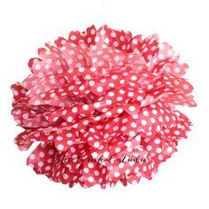 NEW to the shop! Polka Dot Tissue Paper Pom Poms - Red shoptomkat.com