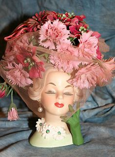 Lady Headvase Napco C6428 with Original Flowers Signed and Sticker