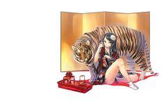 тигр девушка катана