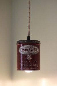 Antique tin can hanging lamp with fabric cord at www.pgpostals.com