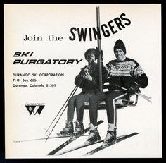 Join the Swingers SKI Purgatory Durango Ski Corp area Colorado skier ski lift photo old print ad 1967 Vintage Retro Ski Skiing