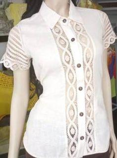 BLUSAS - PRIMAVERAL Bordados y Accesorios Ideas, Tops, Fashion, Molde, Block Prints, Templates, Shirt Blouses, Lace Tops, White Blouses