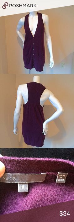 "Vince cashmere size medium purple tunic vest Vince 100% cashmere size medium purple mother of pearl button up tunic vest. Great piece for the fall item is in great used condition no holes. Bust 16"", length 31"". Vince Tops"