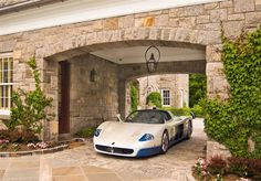 A nice driveway. The garage is crazy extravagant.