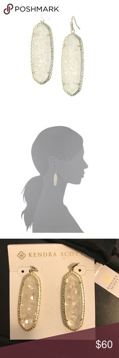 NWT Kendra Scott Lauren Drop Earrings Brand new w tags never worn Lauren earrings in gold/crushed ivory/mother of pearl. Meet your new go-to accessory, the Lauren Earrings. These statement-making accessories made out of crushed ivory/mother of pearl will leave you dreaming of your next getaway.  14K gold-plated brass earrings feature a gorgeous array of mixed semi-precious stones.  Post back. Measurements: Width: 1 in Height: 2 1⁄2 in Weight: 0.46 oz Kendra Scott Jewelry Earrings