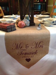 Table runner option for sweetheart table in wedding colors instead