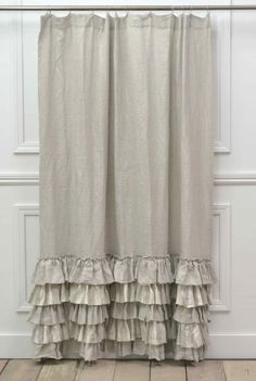 Last One Sofia Shower Curtain In Natural Ruffled CurtainsLINEN