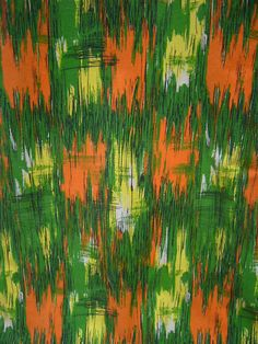 VINTAGE RETRO 50s ABSTRACT CURTAINS green orange yellow