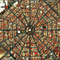 Plaza Del Ejecutivo is the park where 16 streets meet in the center of this beautiful urban morphology. Amazing Architecture, Architecture Design, City Ville, Satellite Of Love, City From Above, City Layout, Urban Fabric, Magic City, City Maps