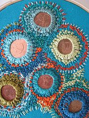 From cornflowerbluestudio blog. . coin hand embroidery