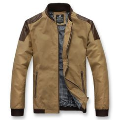 Men's Bomber Jacket with Faux Leather Details