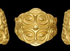 Celtic Gold Ring With Mask Motif, 5th Century BC