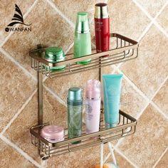 Two Layer Bathroom Rack Space Antique bronze Aluminum Towel Washing Shower Basket Bar Shelf /bathroom accessories
