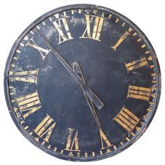 Large Roman Numeral Clock | From a unique collection of antique and modern wall clocks at http://www.1stdibs.com/furniture/wall-decorations/wall-clocks/