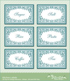 Printable Pantry Kitchen Stickers Labels