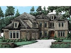 Tudor House Plan with 4154 Square Feet and 5 Bedrooms from Dream Home Source | House Plan Code DHSW53520